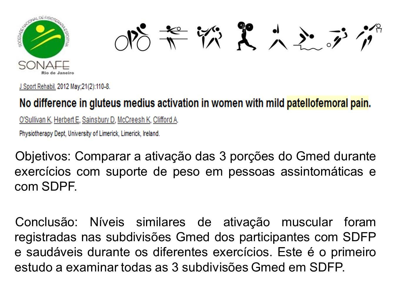 Objetivos: Comparar a ativação das 3 porções do Gmed durante exercícios com suporte de peso em pessoas assintomáticas e com SDPF. Conclusão: Níveis si