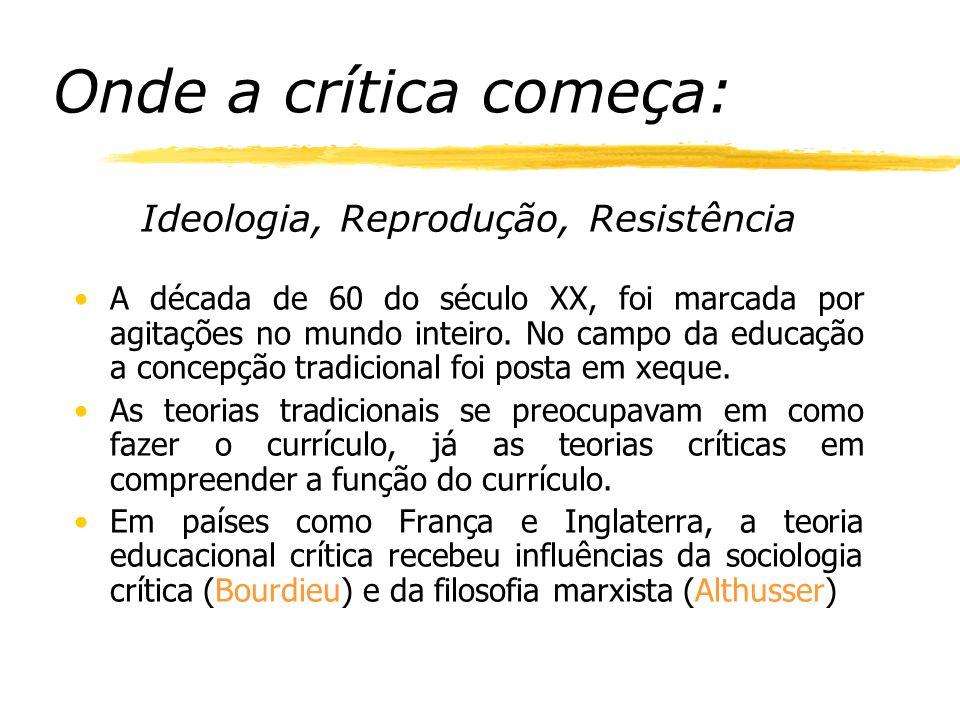 Onde a crítica começa: Ideologia, Reprodução, Resistência A década de 60 do século XX, foi marcada por agitações no mundo inteiro.
