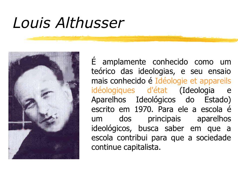 Louis Althusser É amplamente conhecido como um teórico das ideologias, e seu ensaio mais conhecido é Idéologie et appareils idéologiques d état (Ideologia e Aparelhos Ideológicos do Estado) escrito em 1970.