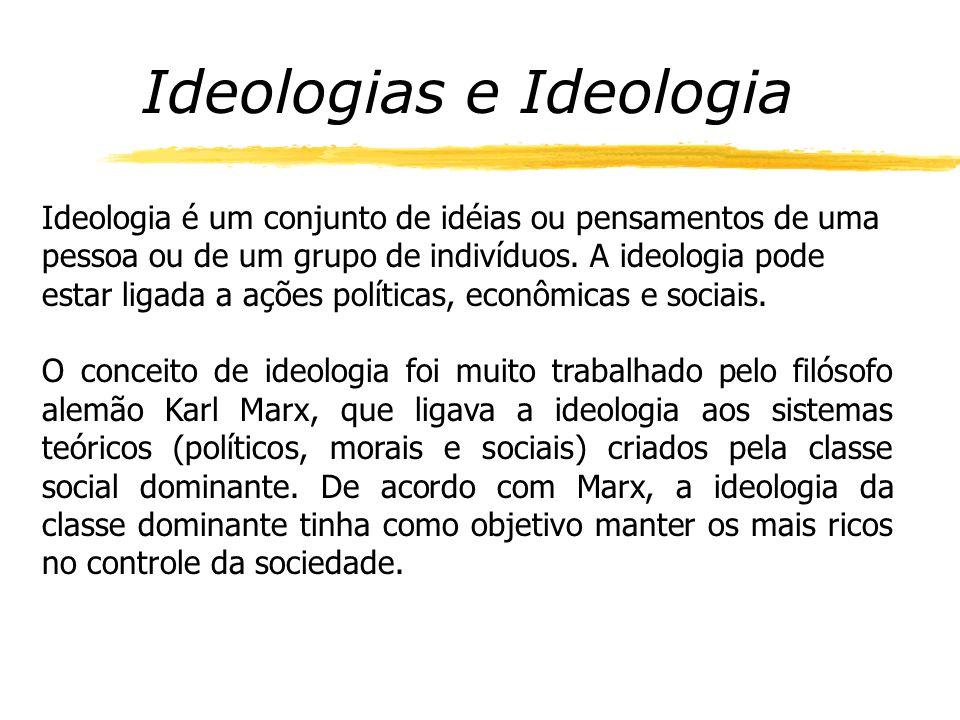 Ideologias e Ideologia Ideologia é um conjunto de idéias ou pensamentos de uma pessoa ou de um grupo de indivíduos.