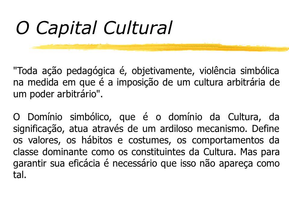 O Capital Cultural Toda ação pedagógica é, objetivamente, violência simbólica na medida em que é a imposição de um cultura arbitrária de um poder arbitrário .