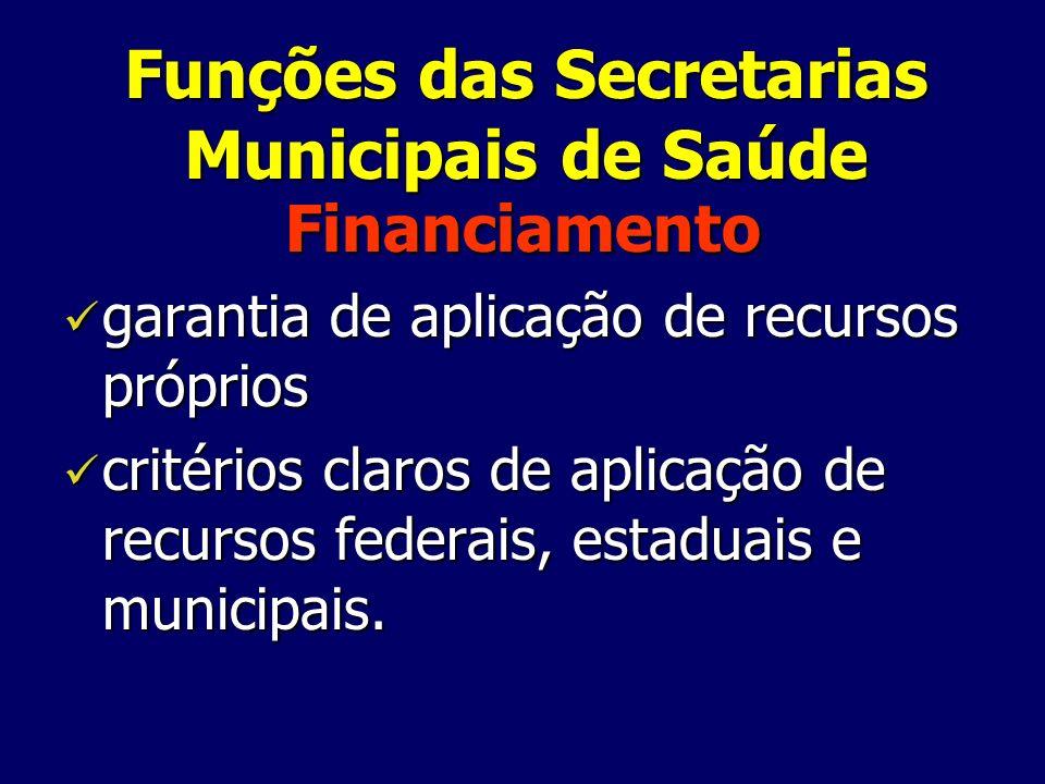 Funções das Secretarias Municipais de Saúde Financiamento garantia de aplicação de recursos próprios garantia de aplicação de recursos próprios critér