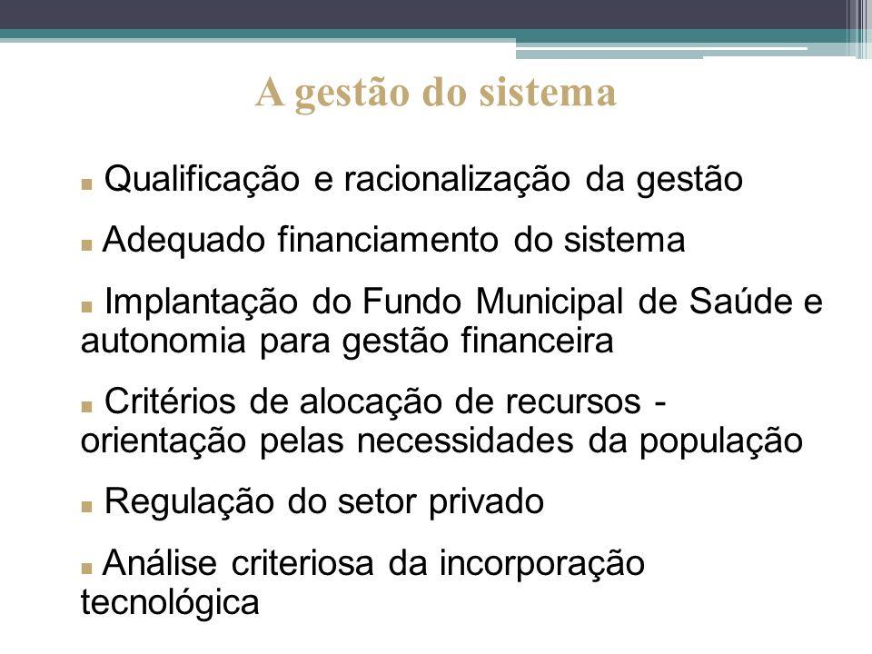 Qualificação e racionalização da gestão Adequado financiamento do sistema Implantação do Fundo Municipal de Saúde e autonomia para gestão financeira C