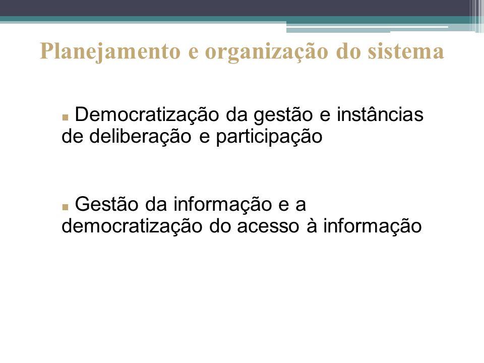 Democratização da gestão e instâncias de deliberação e participação Gestão da informação e a democratização do acesso à informação Planejamento e orga