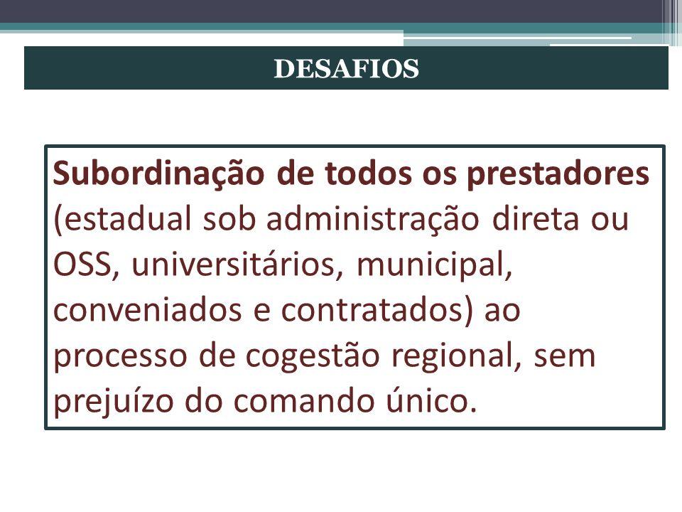 DESAFIOS Subordinação de todos os prestadores (estadual sob administração direta ou OSS, universitários, municipal, conveniados e contratados) ao proc