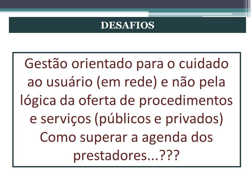 DESAFIOS Gestão orientado para o cuidado ao usuário (em rede) e não pela lógica da oferta de procedimentos e serviços (públicos e privados) Como super
