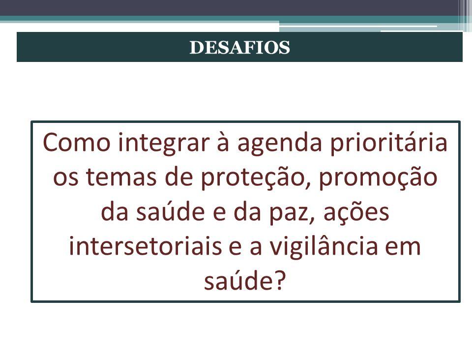DESAFIOS Como integrar à agenda prioritária os temas de proteção, promoção da saúde e da paz, ações intersetoriais e a vigilância em saúde?