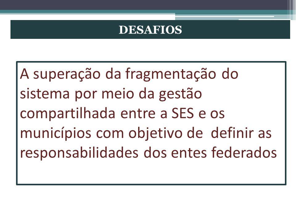 DESAFIOS A superação da fragmentação do sistema por meio da gestão compartilhada entre a SES e os municípios com objetivo de definir as responsabilida