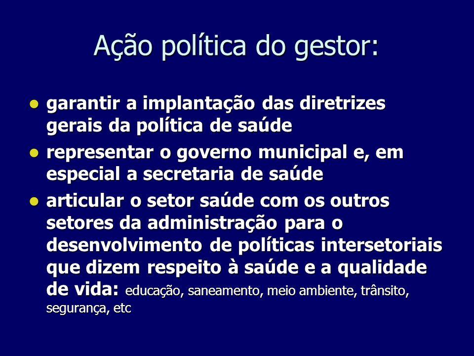 Ação política do gestor: garantir a implantação das diretrizes gerais da política de saúde garantir a implantação das diretrizes gerais da política de