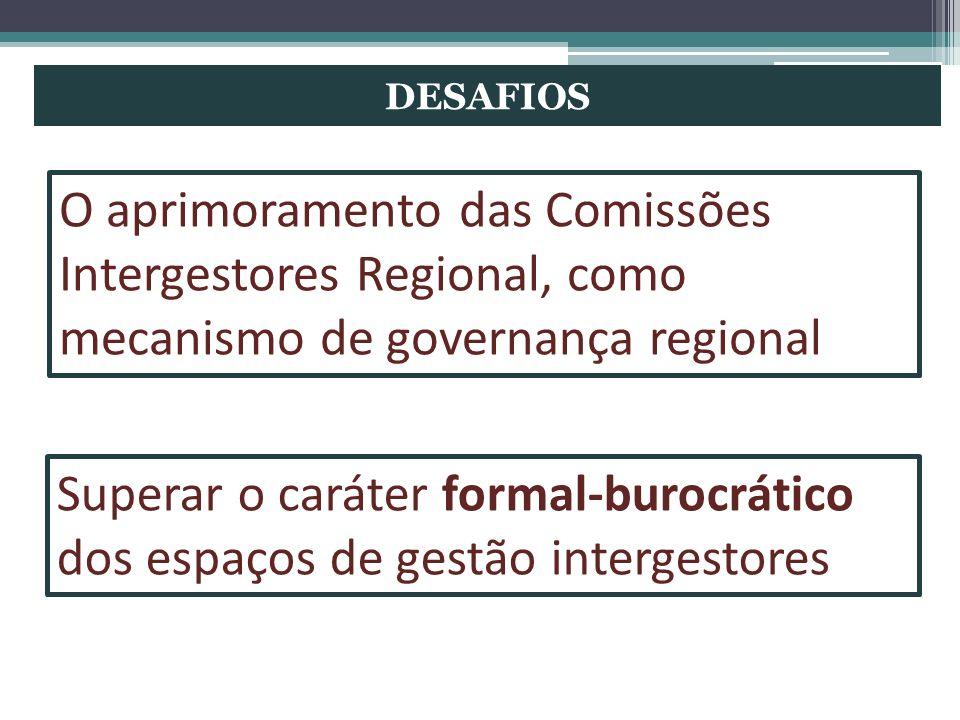 DESAFIOS O aprimoramento das Comissões Intergestores Regional, como mecanismo de governança regional Superar o caráter formal-burocrático dos espaços