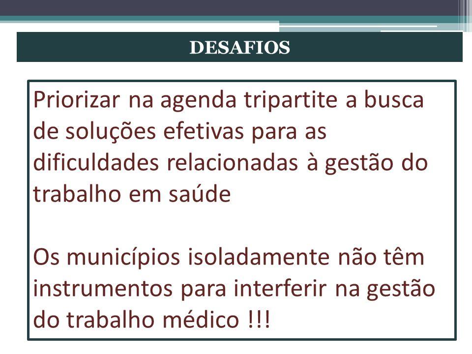 DESAFIOS Priorizar na agenda tripartite a busca de soluções efetivas para as dificuldades relacionadas à gestão do trabalho em saúde Os municípios iso