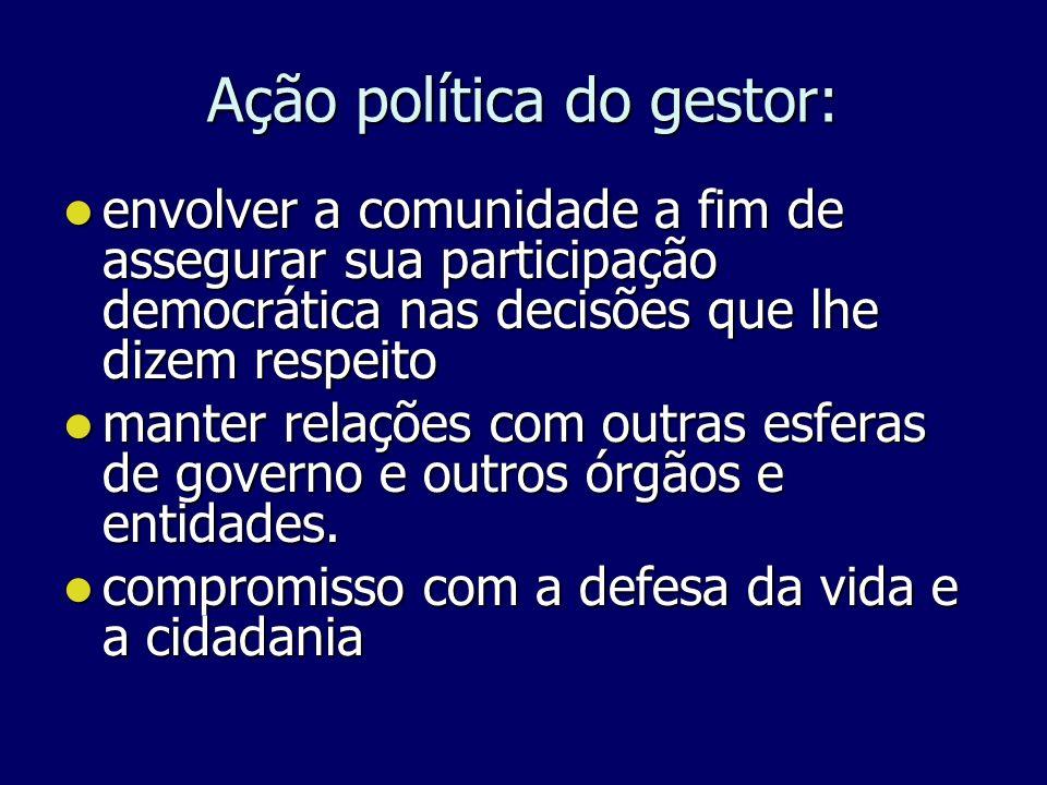 Ação política do gestor: envolver a comunidade a fim de assegurar sua participação democrática nas decisões que lhe dizem respeito envolver a comunida