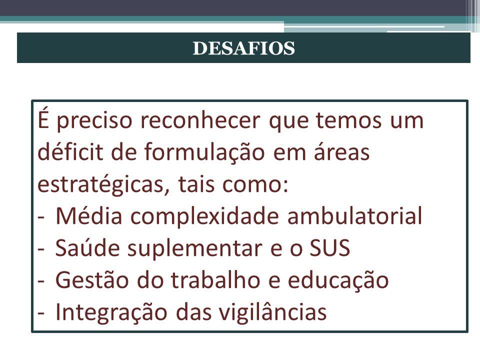 DESAFIOS É preciso reconhecer que temos um déficit de formulação em áreas estratégicas, tais como: -Média complexidade ambulatorial -Saúde suplementar