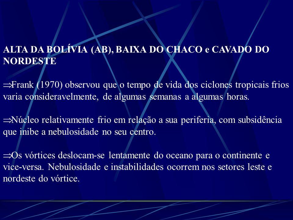 ALTA DA BOLÍVIA (AB), BAIXA DO CHACO e CAVADO DO NORDESTE Frank (1970) observou que o tempo de vida dos ciclones tropicais frios varia consideravelmen