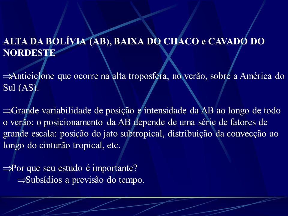 ALTA DA BOLÍVIA (AB), BAIXA DO CHACO e CAVADO DO NORDESTE Anticiclone que ocorre na alta troposfera, no verão, sobre a América do Sul (AS). Grande var
