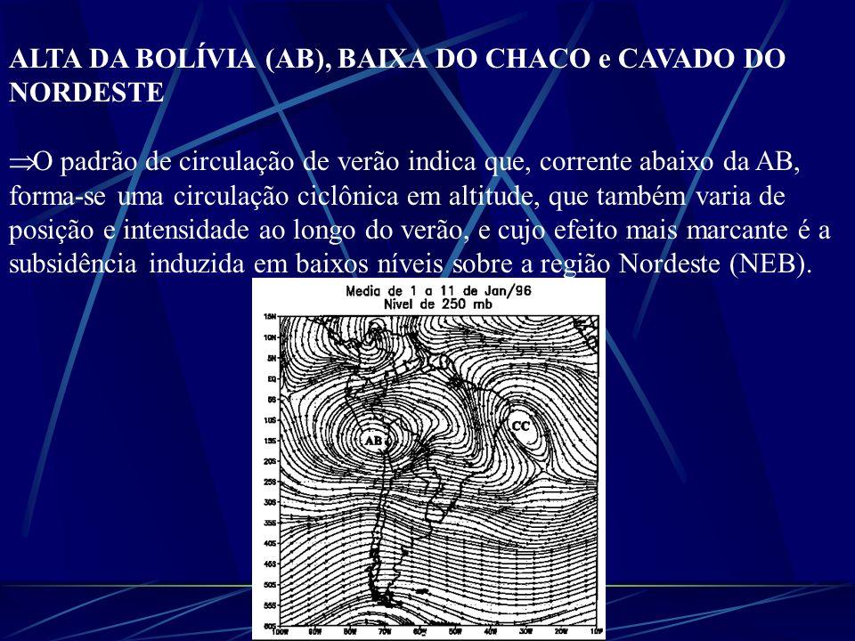 ALTA DA BOLÍVIA (AB), BAIXA DO CHACO e CAVADO DO NORDESTE O padrão de circulação de verão indica que, corrente abaixo da AB, forma-se uma circulação c