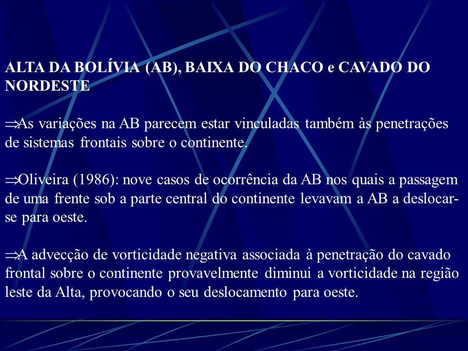 ALTA DA BOLÍVIA (AB), BAIXA DO CHACO e CAVADO DO NORDESTE A vorticidade anticiclônica associada ao cisalhamento do escoamento na região do jato subtropical intensifica a circulação na região da Alta (Carvalho, 1989).