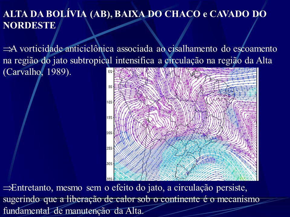 ALTA DA BOLÍVIA (AB), BAIXA DO CHACO e CAVADO DO NORDESTE Gutman e Schwerdtfeger (1965) mostraram que no verão a camada troposférica entre 500 e 200 hPa aumentava de espessura, sugerindo que a fonte de aquecimento para gerar este aumento na espessura estava vinculada à liberação de calor associada a dois processos: calor latente devido à convecção e também calor sensível liberado pelo Altiplano Boliviano.