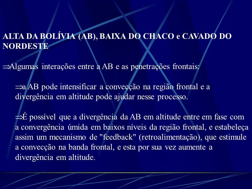 ALTA DA BOLÍVIA (AB), BAIXA DO CHACO e CAVADO DO NORDESTE Algumas interações entre a AB e as penetrações frontais: a AB pode intensificar a convecção