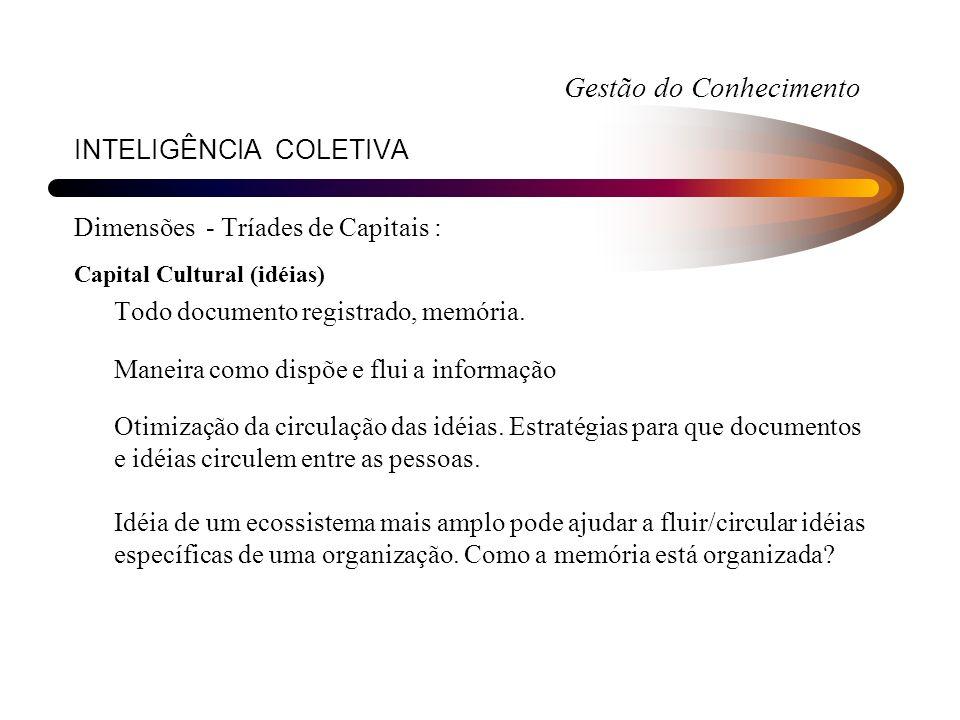 INTELIGÊNCIA COLETIVA Dimensões - Tríades de Capitais : Capital Cultural (idéias) Todo documento registrado, memória. Maneira como dispõe e flui a inf