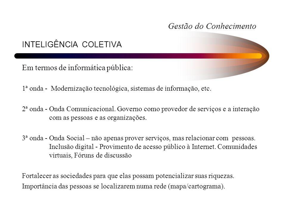 INTELIGÊNCIA COLETIVA Em termos de informática pública: 1ª onda - Modernização tecnológica, sistemas de informação, etc. 2ª onda - Onda Comunicacional