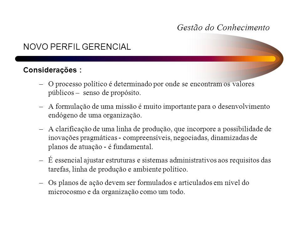 NOVO PERFIL GERENCIAL Considerações : –O processo político é determinado por onde se encontram os valores públicos – senso de propósito. –A formulação