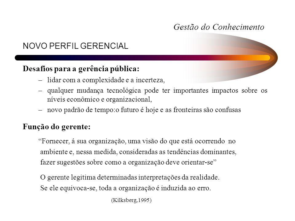 NOVO PERFIL GERENCIAL Desafios para a gerência pública: –lidar com a complexidade e a incerteza, –qualquer mudança tecnológica pode ter importantes im