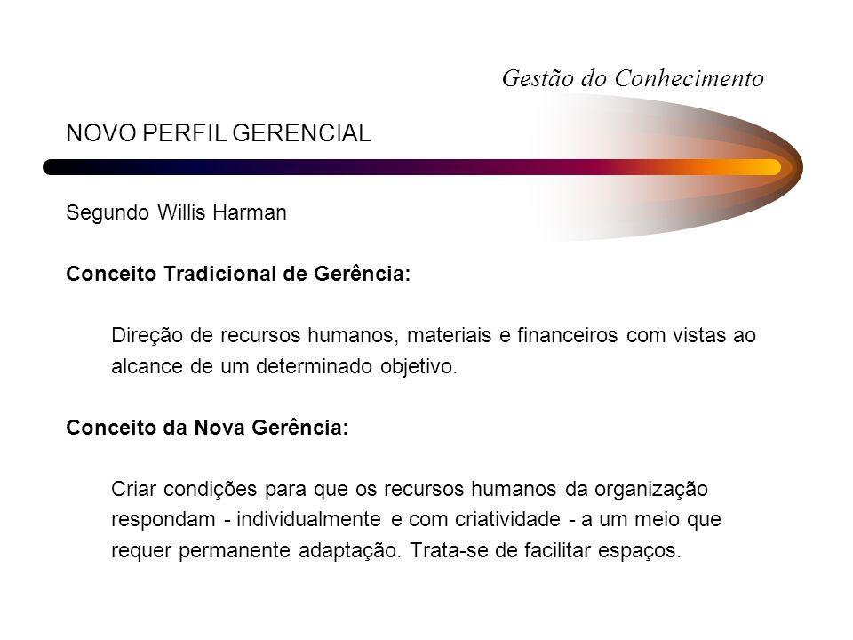 NOVO PERFIL GERENCIAL Segundo Willis Harman Conceito Tradicional de Gerência: Direção de recursos humanos, materiais e financeiros com vistas ao alcan