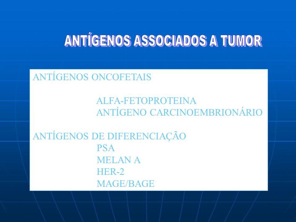 ANTÍGENOS ONCOFETAIS ALFA-FETOPROTEINA ANTÍGENO CARCINOEMBRIONÁRIO ANTÍGENOS DE DIFERENCIAÇÃO PSA MELAN A HER-2 MAGE/BAGE
