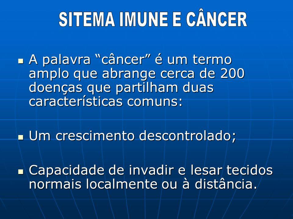 A palavra câncer é um termo amplo que abrange cerca de 200 doenças que partilham duas características comuns: A palavra câncer é um termo amplo que ab