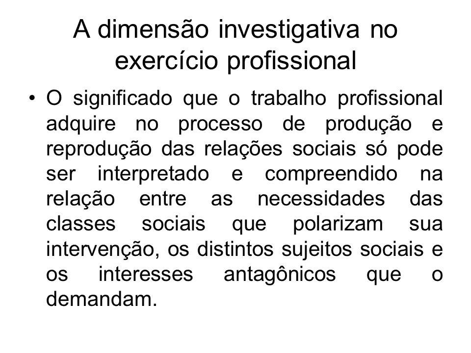 A dimensão investigativa no exercício profissional O significado que o trabalho profissional adquire no processo de produção e reprodução das relações