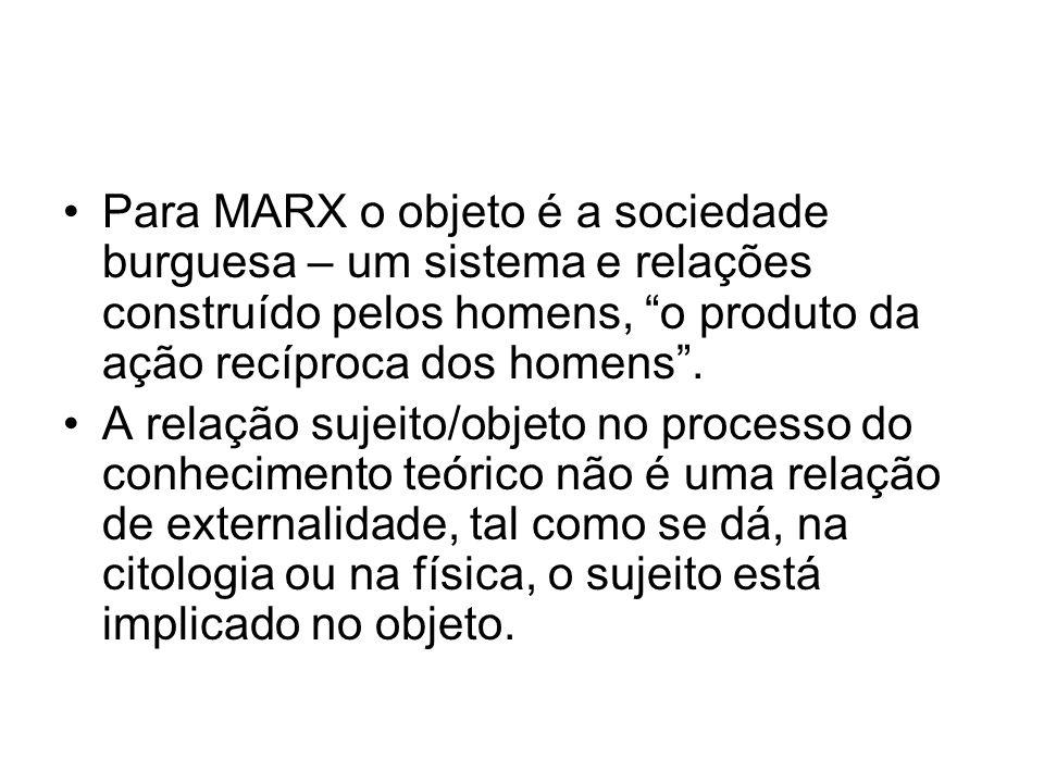 Para MARX o objeto é a sociedade burguesa – um sistema e relações construído pelos homens, o produto da ação recíproca dos homens. A relação sujeito/o