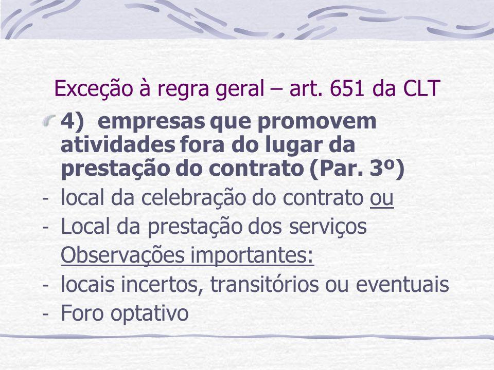 Exceção à regra geral – art. 651 da CLT 4) empresas que promovem atividades fora do lugar da prestação do contrato (Par. 3º) - local da celebração do