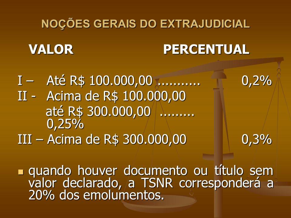 NOÇÕES GERAIS DO EXTRAJUDICIAL VALOR PERCENTUAL VALOR PERCENTUAL I – Até R$ 100.000,00........... 0,2% II - Acima de R$ 100.000,00 até R$ 300.000,00..