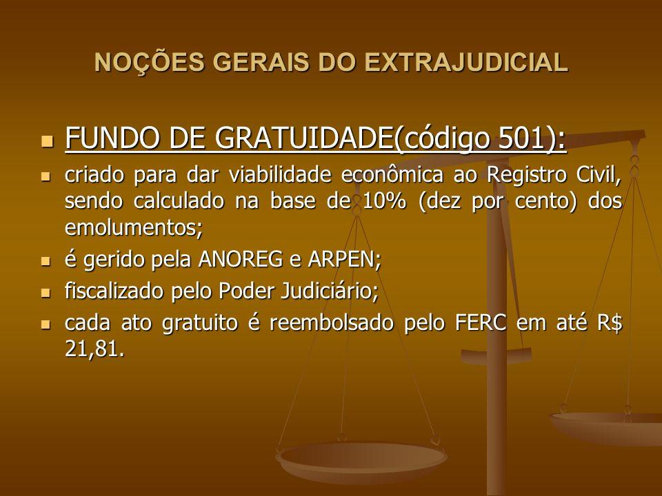 NOÇÕES GERAIS DO EXTRAJUDICIAL FUNDO DE GRATUIDADE(código 501): FUNDO DE GRATUIDADE(código 501): criado para dar viabilidade econômica ao Registro Civ