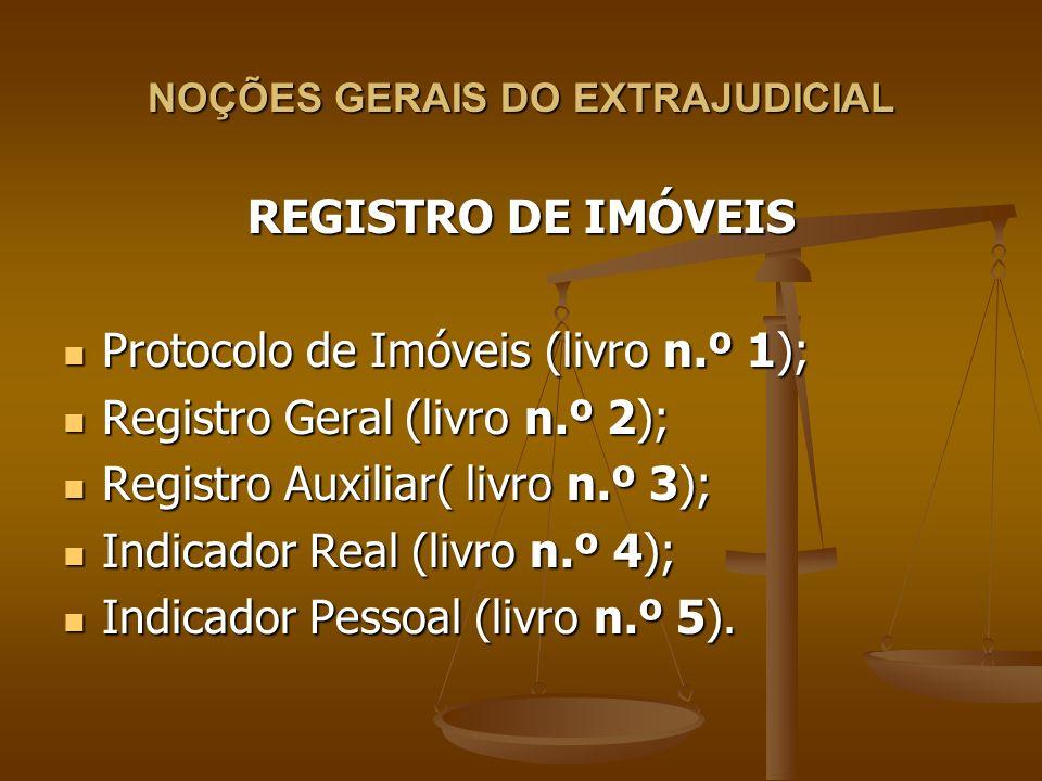 NOÇÕES GERAIS DO EXTRAJUDICIAL REGISTRO DE IMÓVEIS Protocolo de Imóveis (livro n.º 1); Protocolo de Imóveis (livro n.º 1); Registro Geral (livro n.º 2