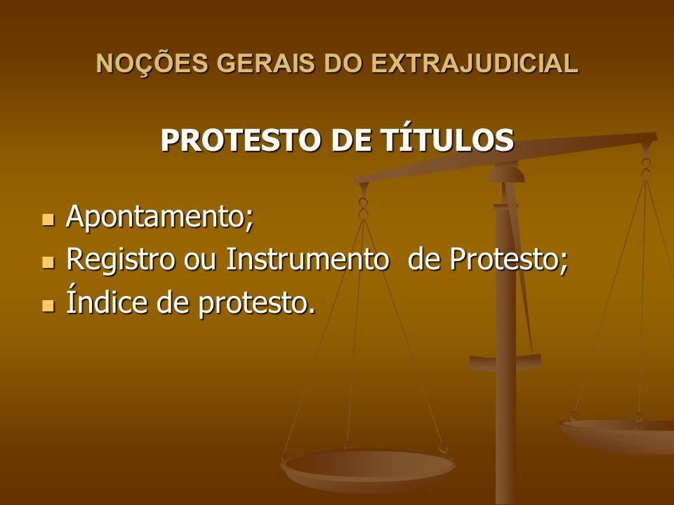 NOÇÕES GERAIS DO EXTRAJUDICIAL PROTESTO DE TÍTULOS Apontamento; Apontamento; Registro ou Instrumento de Protesto; Registro ou Instrumento de Protesto;
