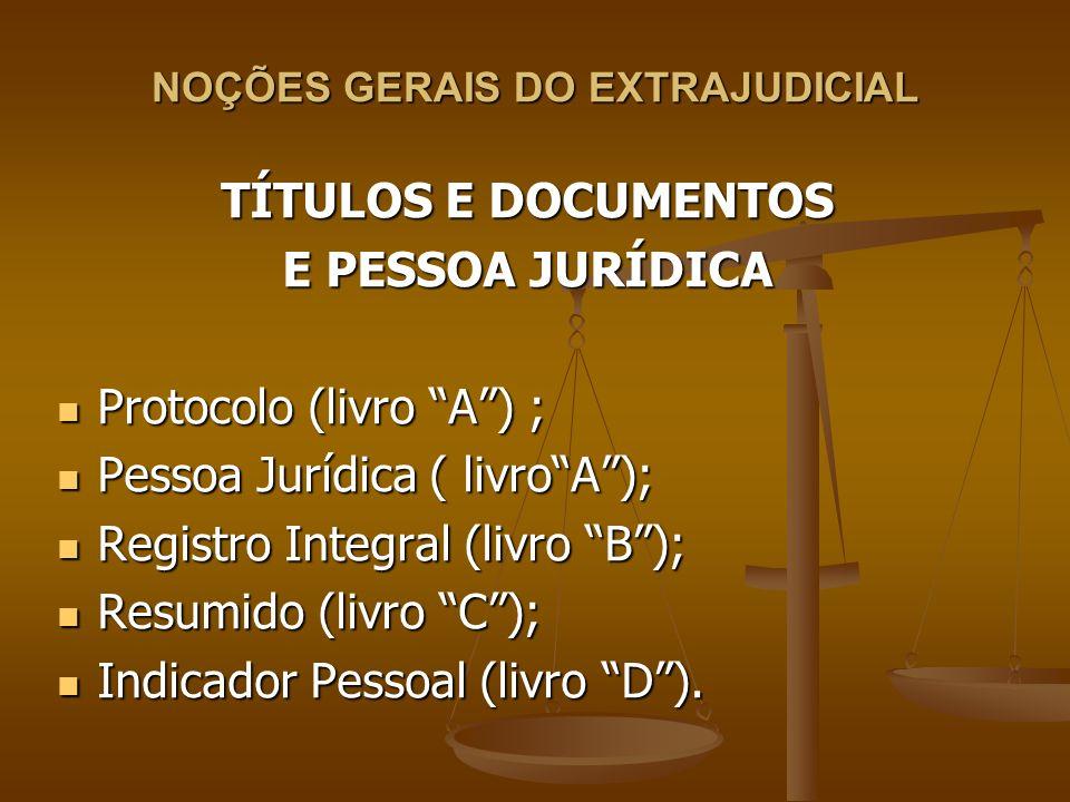 NOÇÕES GERAIS DO EXTRAJUDICIAL TÍTULOS E DOCUMENTOS E PESSOA JURÍDICA Protocolo (livro A) ; Protocolo (livro A) ; Pessoa Jurídica ( livroA); Pessoa Ju
