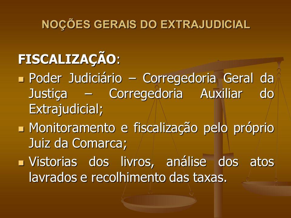 NOÇÕES GERAIS DO EXTRAJUDICIAL FISCALIZAÇÃO: Poder Judiciário – Corregedoria Geral da Justiça – Corregedoria Auxiliar do Extrajudicial; Poder Judiciár
