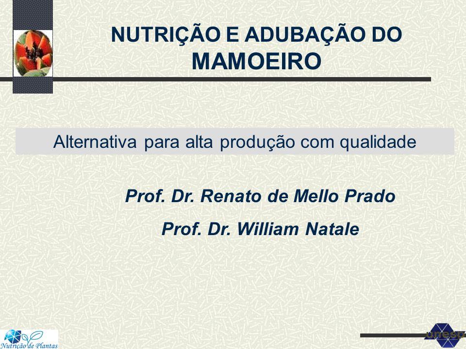 NUTRIÇÃO E ADUBAÇÃO DO MAMOEIRO Alternativa para alta produção com qualidade Prof. Dr. Renato de Mello Prado Prof. Dr. William Natale