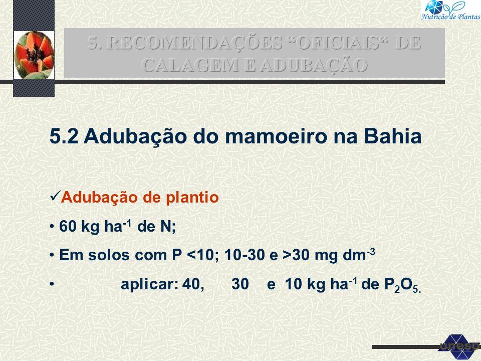 5.2 Adubação do mamoeiro na Bahia Adubação de plantio 60 kg ha -1 de N; Em solos com P 30 mg dm -3 aplicar: 40, 30 e 10 kg ha -1 de P 2 O 5.