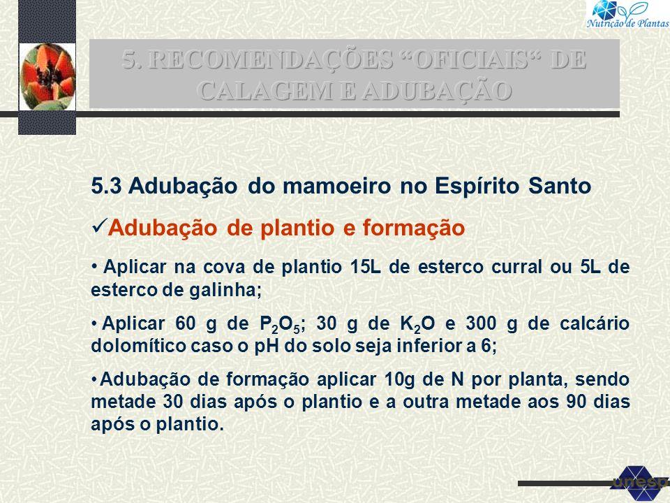 5.3 Adubação do mamoeiro no Espírito Santo Adubação de plantio e formação Aplicar na cova de plantio 15L de esterco curral ou 5L de esterco de galinha