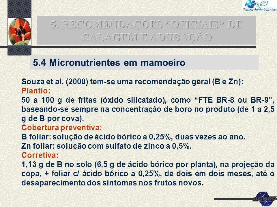 Souza et al. (2000) tem-se uma recomendação geral (B e Zn): Plantio: 50 a 100 g de fritas (óxido silicatado), como FTE BR-8 ou BR-9, baseando-se sempr
