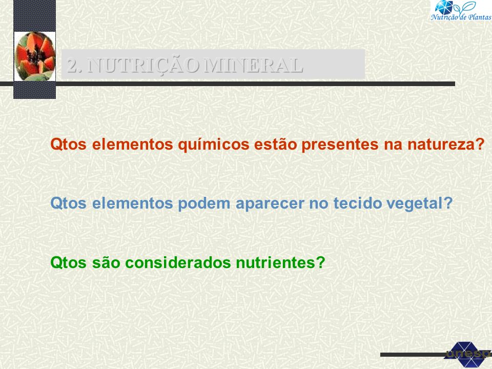 2.1 Aspectos Gerais 2.2 Funções dos Nutrientes Tabela 4.