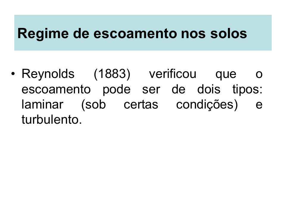 Regime de escoamento nos solos Reynolds (1883) verificou que o escoamento pode ser de dois tipos: laminar (sob certas condições) e turbulento.