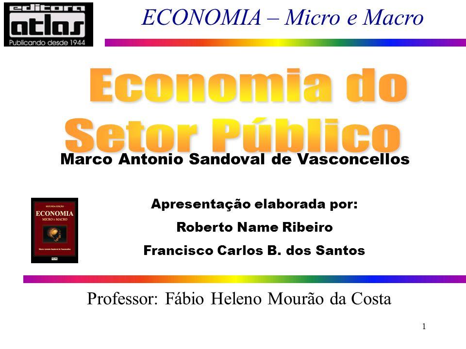 ECONOMIA – Micro e Macro 1 Marco Antonio Sandoval de Vasconcellos Apresentação elaborada por: Roberto Name Ribeiro Francisco Carlos B. dos Santos Prof