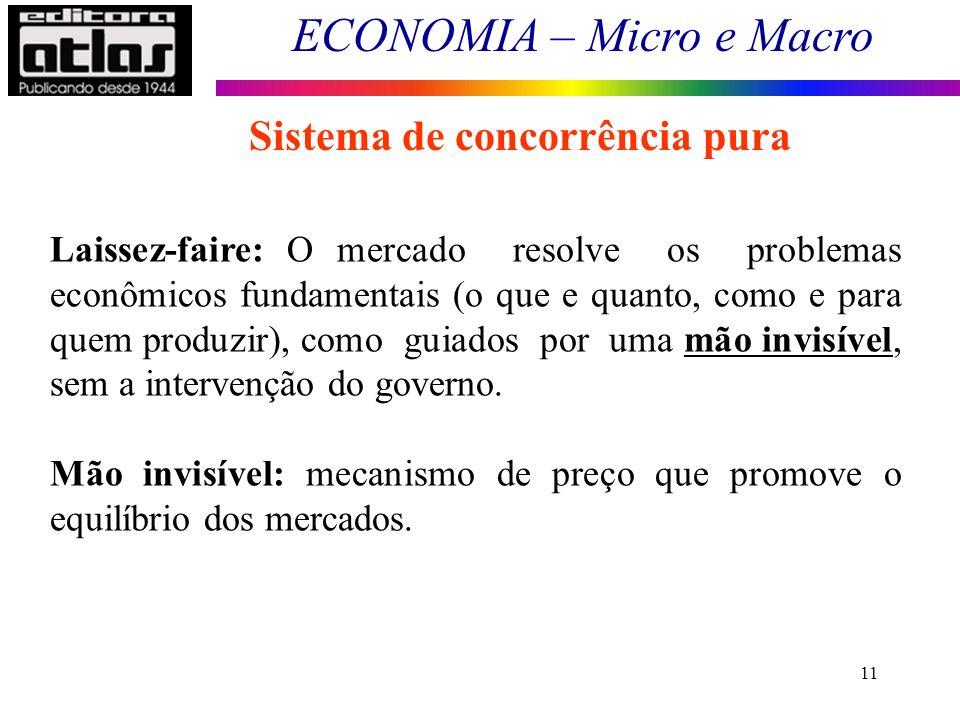 ECONOMIA – Micro e Macro 11 Sistema de concorrência pura Laissez-faire: O mercado resolve os problemas econômicos fundamentais (o que e quanto, como e