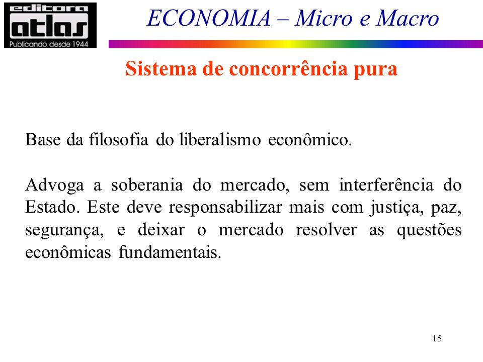 ECONOMIA – Micro e Macro 15 Sistema de concorrência pura Base da filosofia do liberalismo econômico. Advoga a soberania do mercado, sem interferência