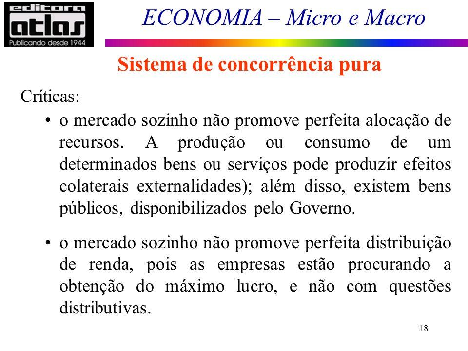 ECONOMIA – Micro e Macro 18 Sistema de concorrência pura Críticas: o mercado sozinho não promove perfeita alocação de recursos. A produção ou consumo