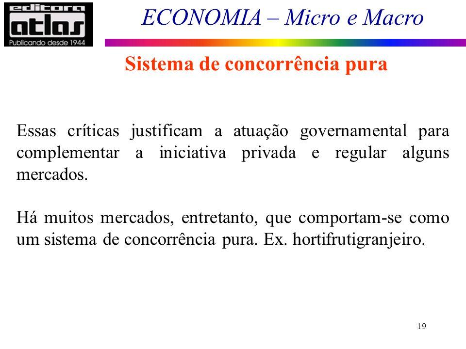 ECONOMIA – Micro e Macro 19 Sistema de concorrência pura Essas críticas justificam a atuação governamental para complementar a iniciativa privada e re